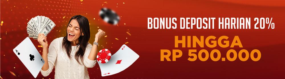 bonus deposit pertama 20%
