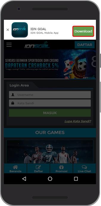 IDNGoal Bandar Agen Taruhan Judi Bola SBOBET Online - Download Mobile Android IDNGOAL