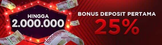 bonus deposit pertama 25%